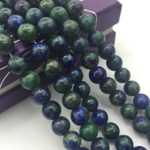 Shop Chrysocolla Round Beads! 2.0mm Large Hole Chrysocolla Smooth Round Size 8mm/10mm Semi-Precious Gemstone Loose Beads Approximate 15.5 Inch. R-S-L-CHR-0099 | Natural genuine round Chrysocolla beads for beading and jewelry making.  #jewelry #beads #beadedjewelry #diyjewelry #jewelrymaking #beadstore #beading #affiliate #ad