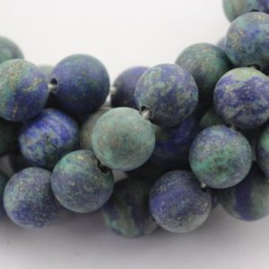 Shop Chrysocolla Round Beads! 2.0mm Large Hole Matte Chrysocolla Gemstone Round Loose Beads Size 8mm/10mm Approximate 15.5 Inches per Strand. R-M-L-CHR-0103 | Natural genuine round Chrysocolla beads for beading and jewelry making.  #jewelry #beads #beadedjewelry #diyjewelry #jewelrymaking #beadstore #beading #affiliate #ad
