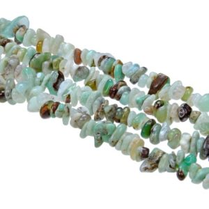 "Chrysoprase Irregular Pebble Nugget Chips Beads 7-8mm 34"" Strand 