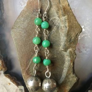 Shop Chrysoprase Earrings! Chrysoprase Earrings, Silver Temple Bell Earrings, Charm Earrings, Long Dangle Earrings, Jingle Bells, Tribal Earrings, Tribal Jewelry, Boho | Natural genuine Chrysoprase earrings. Buy crystal jewelry, handmade handcrafted artisan jewelry for women.  Unique handmade gift ideas. #jewelry #beadedearrings #beadedjewelry #gift #shopping #handmadejewelry #fashion #style #product #earrings #affiliate #ad