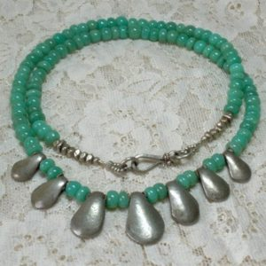Shop Chrysoprase Necklaces! Chrysoprase Necklace, Tribal Silver Necklace, Statement Necklace, Tribal Jewelry, Charm Necklace, Green Necklace, Boho Necklace, Ooak | Natural genuine Chrysoprase necklaces. Buy crystal jewelry, handmade handcrafted artisan jewelry for women.  Unique handmade gift ideas. #jewelry #beadednecklaces #beadedjewelry #gift #shopping #handmadejewelry #fashion #style #product #necklaces #affiliate #ad