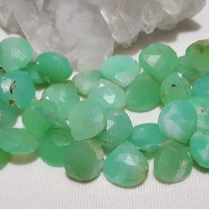 Shop Chrysoprase Bead Shapes! Chrysoprase Faceted Briolette Beads 12mm-14mm, 8 In. Strand, Chrysoprase Faceted Heart Shape Briolette Beads, Apple Green Chalcedony | Natural genuine other-shape Chrysoprase beads for beading and jewelry making.  #jewelry #beads #beadedjewelry #diyjewelry #jewelrymaking #beadstore #beading #affiliate #ad