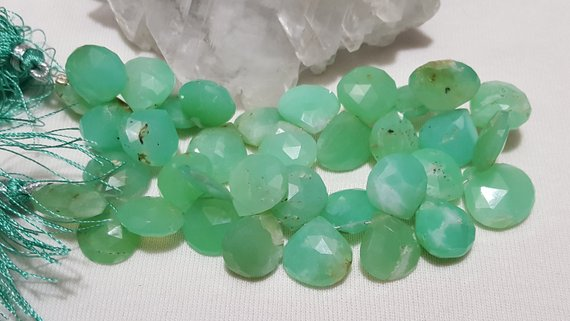 Chrysoprase Faceted Briolette Beads 12mm-14mm, 8 In. Strand, Chrysoprase Faceted Heart Shape Briolette Beads, Apple Green Chalcedony