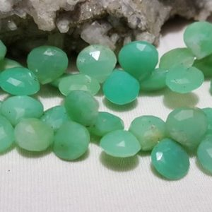 Shop Chrysoprase Bead Shapes! Chrysoprase Faceted Briolette Beads 10mm-11mm, 8 In. Strand, Chrysoprase Faceted Heart Shape Briolette Beads, Apple Green Chalcedony | Natural genuine other-shape Chrysoprase beads for beading and jewelry making.  #jewelry #beads #beadedjewelry #diyjewelry #jewelrymaking #beadstore #beading #affiliate #ad