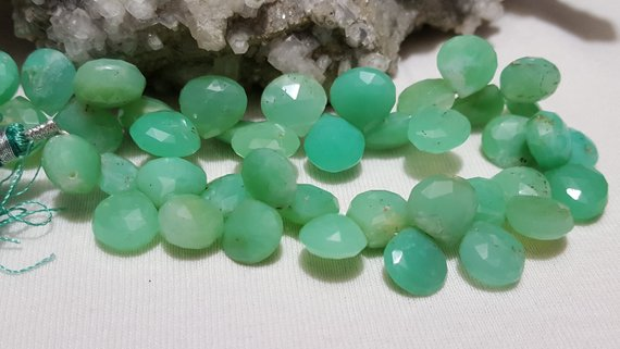 Chrysoprase Faceted Briolette Beads 10mm-11mm, 8 In. Strand, Chrysoprase Faceted Heart Shape Briolette Beads, Apple Green Chalcedony