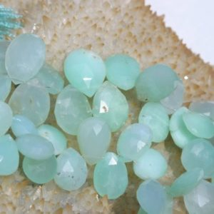 Shop Chrysoprase Bead Shapes! Chrysoprase Graduating Faceted Flat Drop Beads 8 In. Strand, Chrysoprase Beads Briolettes Pear Shaped Flat Teardrops | Natural genuine other-shape Chrysoprase beads for beading and jewelry making.  #jewelry #beads #beadedjewelry #diyjewelry #jewelrymaking #beadstore #beading #affiliate #ad