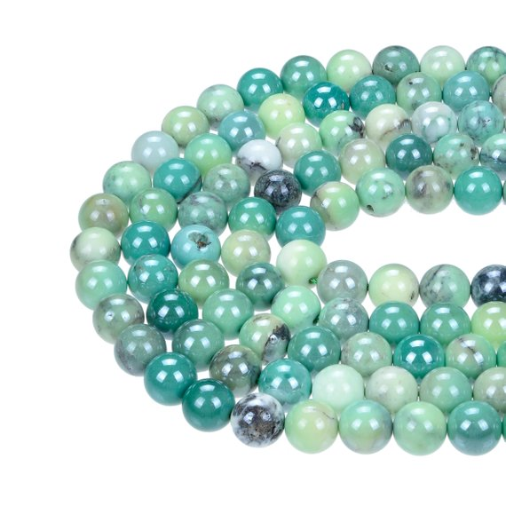 "Coated Chrysoprase Smooth Round Beads 6mm 8mm 10mm 15.5"" Strand"