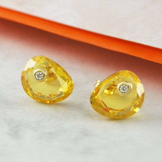 November Birthstone Jewelry, Citrine Studs, Stud Earrings, Gemstone Jewelry, Birthstone Gift, November Birthday, Gift For Her, Unusual Gift