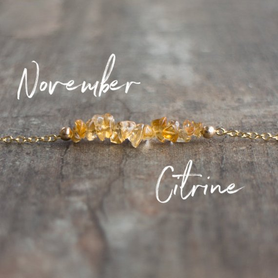 Raw Citrine Necklaces For Women, Dainty Citrine Necklace, Yellow Citrine Chakra Necklace, November Birthstone Jewelry, Silver Necklace