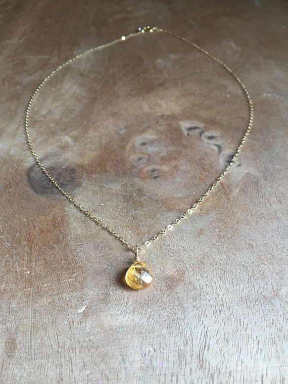 Citrine Necklace - Gold Citrine Necklace - November Birthstone Necklace - Citrine Jewelry - Crystal Necklace - Gift For Mom