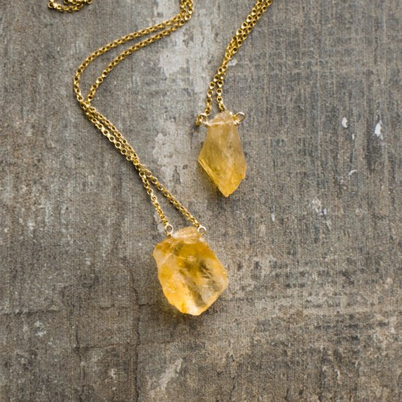 Raw Citrine Birthstone Necklace, Orange Citrine Necklace, Citrine Crystal Necklace For Women, Raw Citrine Jewelry, Citrine Pendant