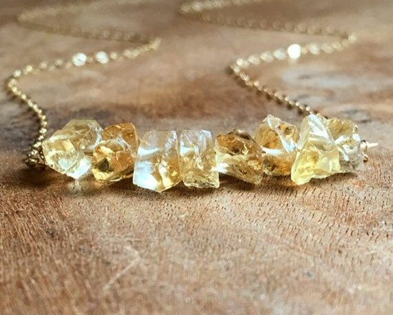 Citrine Necklace  - Raw Citrine Necklace - November Birthstone Necklace - Raw Crystal Necklace - Citrine Jewelry - Gift For Her