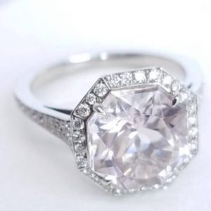 Shop Kunzite Rings! Diamond and Kunzite Halo Octagon Ring – Unique Vintage Style Engagement Ring – Video in Description! – Made in The USA | Natural genuine Kunzite rings, simple unique alternative gemstone engagement rings. #rings #jewelry #bridal #wedding #jewelryaccessories #engagementrings #weddingideas #affiliate #ad