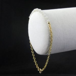 Shop Diamond Bracelets! Diamond Bracelet in 14K Gold Filled – White Raw Rough Diamonds 2inch Long – Gold Ribbed Chain – Initial Tag, Personalized Disk | Natural genuine Diamond bracelets. Buy crystal jewelry, handmade handcrafted artisan jewelry for women.  Unique handmade gift ideas. #jewelry #beadedbracelets #beadedjewelry #gift #shopping #handmadejewelry #fashion #style #product #bracelets #affiliate #ad