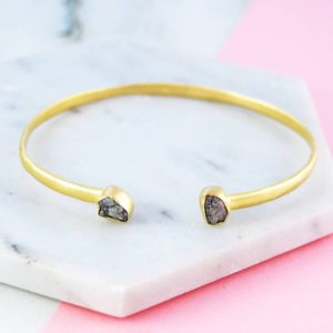 Shop Diamond Bracelets! Rough Diamond Cuff Bangle, Gold Gemstone Bracelet, Open Bangle, Raw Diamond Cuff, 2 Diamond Bracelet, Genuine Precious Diamond, Fine Jewelry | Natural genuine Diamond bracelets. Buy crystal jewelry, handmade handcrafted artisan jewelry for women.  Unique handmade gift ideas. #jewelry #beadedbracelets #beadedjewelry #gift #shopping #handmadejewelry #fashion #style #product #bracelets #affiliate #ad