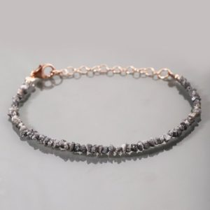 Shop Diamond Bracelets! Rough Diamond Bracelet Genuine Grey Rough Uncut Diamond Raw Diamond Bracelet April Birthstone Chritmas Gift For Women Christmas Sale Diamond | Natural genuine Diamond bracelets. Buy crystal jewelry, handmade handcrafted artisan jewelry for women.  Unique handmade gift ideas. #jewelry #beadedbracelets #beadedjewelry #gift #shopping #handmadejewelry #fashion #style #product #bracelets #affiliate #ad