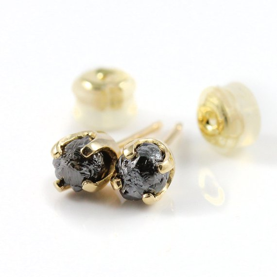 14k Yellow Gold 5mm Post Earrings With Rough Diamonds - Natural Unfinished Raw Stones, Jet Black Diamonds - Solid Gold Studs