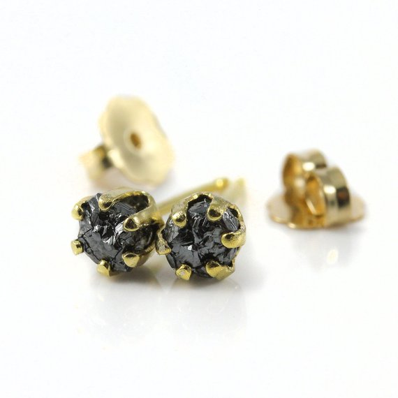 4mm Rough Diamonds Studs - 14k Gold Filled Post Earrings - Conflict Free Natural Raw Diamonds Unfinished - Gold Earstuds