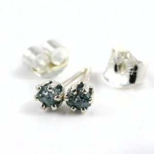Shop Diamond Earrings! 3mm Sterling Silver Studs with Blue Rough Diamonds – Tiny Post Earrings – Rare Blue Uncut Raw Diamonds – Conflict Free | Natural genuine Diamond earrings. Buy crystal jewelry, handmade handcrafted artisan jewelry for women.  Unique handmade gift ideas. #jewelry #beadedearrings #beadedjewelry #gift #shopping #handmadejewelry #fashion #style #product #earrings #affiliate #ad