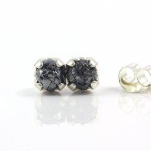 Jet Black Rough Diamond Studs in Silver – 5 mm Post Earrings, Four Prongs – Raw Uncut Unfinished Diamonds – April Birthstone | Natural genuine Gemstone earrings. Buy crystal jewelry, handmade handcrafted artisan jewelry for women.  Unique handmade gift ideas. #jewelry #beadedearrings #beadedjewelry #gift #shopping #handmadejewelry #fashion #style #product #earrings #affiliate #ad