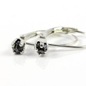 Shop Diamond Earrings! Leverback Earrings in Sterling Silver – Rough Raw Black Diamonds – Natural Uncut Stones – Conflict Free – April Birthstone | Natural genuine Diamond earrings. Buy crystal jewelry, handmade handcrafted artisan jewelry for women.  Unique handmade gift ideas. #jewelry #beadedearrings #beadedjewelry #gift #shopping #handmadejewelry #fashion #style #product #earrings #affiliate #ad