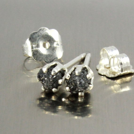 Rough Diamonds In Sterling Silver - Post Earrings - 3mm Small Stud Earrings - Uncut Raw Diamonds - Bridesmaid Gift