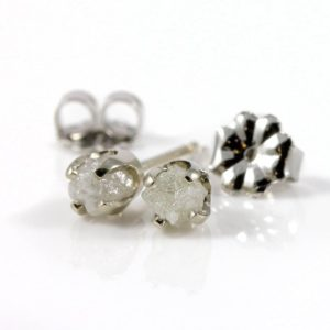 Rough Diamonds in 14K White Gold Earrings – Natural Unfinished Raw Stones – White Diamond Studs – Gold Post Earrings | Natural genuine Gemstone earrings. Buy crystal jewelry, handmade handcrafted artisan jewelry for women.  Unique handmade gift ideas. #jewelry #beadedearrings #beadedjewelry #gift #shopping #handmadejewelry #fashion #style #product #earrings #affiliate #ad