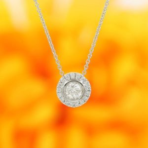 Shop Diamond Necklaces! Women's Diamond Sliding Necklace / 0.47ct Brilliant Round Cut 100% Natural Diamond Bezel Halo Necklace / entire Necklace 14k Solid Gold | Natural genuine Diamond necklaces. Buy crystal jewelry, handmade handcrafted artisan jewelry for women.  Unique handmade gift ideas. #jewelry #beadednecklaces #beadedjewelry #gift #shopping #handmadejewelry #fashion #style #product #necklaces #affiliate #ad