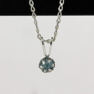 Shop Diamond Pendants! 4mm Blue Raw Diamond Pendant Necklace – Sterling Silver Necklace With Natural Conflict Free Diamond – Rare Blue Diamond | Natural genuine Diamond pendants. Buy crystal jewelry, handmade handcrafted artisan jewelry for women.  Unique handmade gift ideas. #jewelry #beadedpendants #beadedjewelry #gift #shopping #handmadejewelry #fashion #style #product #pendants #affiliate #ad