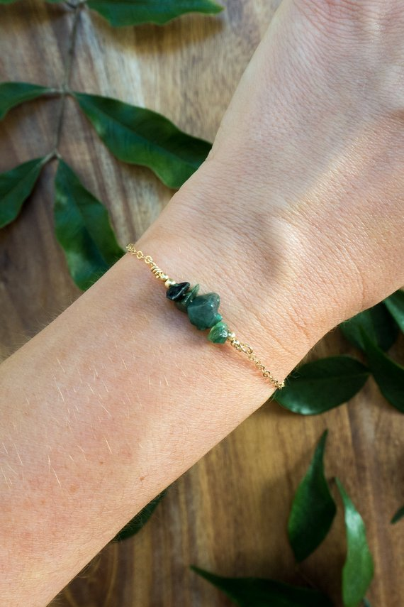 "Emerald Bead Bar Crystal Bracelet In Bronze, Silver, Gold Or Rose Gold - 6"" Chain With 2"" Adjustable Extender - May Birthstone"