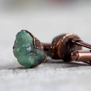Shop Emerald Bracelets! Emerald Cuff Links – Groomsmen Gift – Raw Stone Jewelry for Men | Natural genuine Emerald bracelets. Buy handcrafted artisan men's jewelry, gifts for men.  Unique handmade mens fashion accessories. #jewelry #beadedbracelets #beadedjewelry #shopping #gift #handmadejewelry #bracelets #affiliate #ad