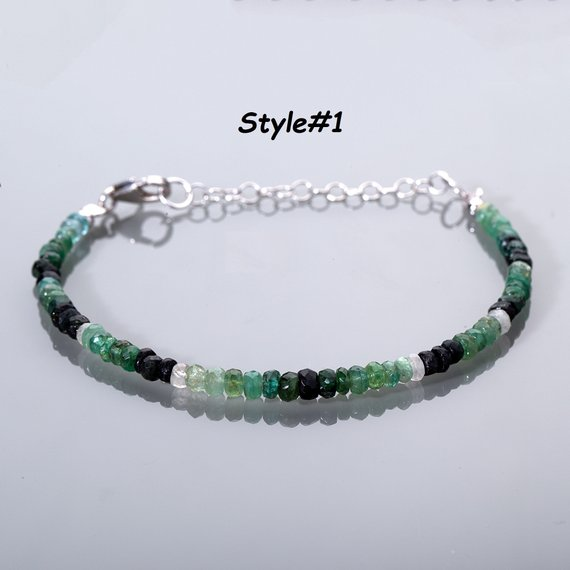 Emerald Bracelet Ombre Emerald Jewelry Green Bracelet May Birthstone Bracelet Genuine Emerald Bracelet Gift For Mom Christmas Gift For Her
