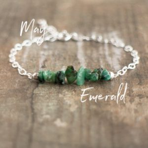 Raw Emerald Bracelet, Crystal Bracelet, May Birthstone Bracelet, Rough Emerald Natural Jewelry, Adjustable Bracelets For Women | Natural genuine Emerald bracelets. Buy crystal jewelry, handmade handcrafted artisan jewelry for women.  Unique handmade gift ideas. #jewelry #beadedbracelets #beadedjewelry #gift #shopping #handmadejewelry #fashion #style #product #bracelets #affiliate #ad
