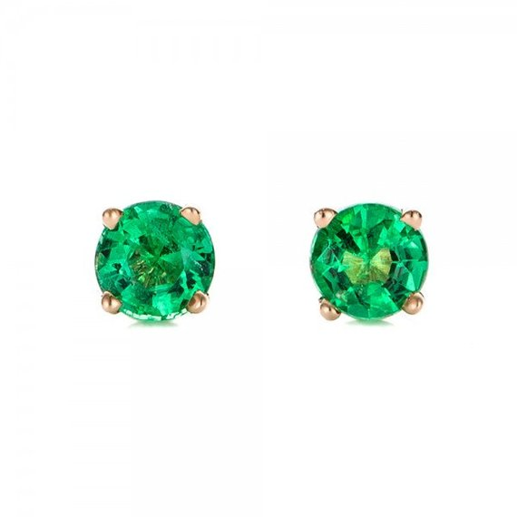 0.50 Ct Carat Emerald Stud Earrings -green Emerald-handmade Emerald Stud Earrings-14 K Yellow Gold Earnings-emerald Earrings-for Her