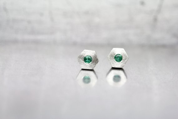 Cute Hexagon Emerald Stud Earrings May Birthstone Sterling Silver Minimalistic Genuine Green Gemstones Gift Idea For Her - Beryl Hexes