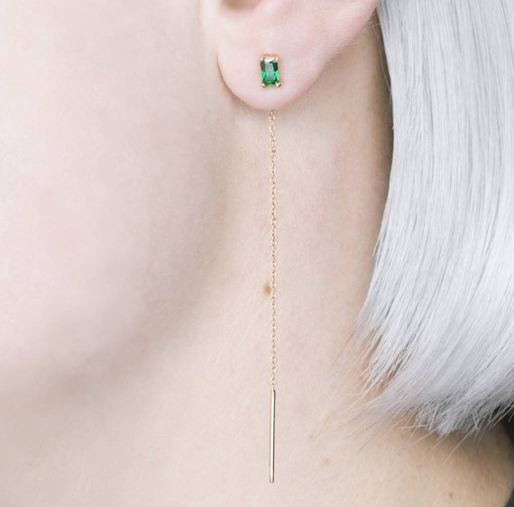 Gold Crystal Emerald Threaders - Green Emerald Drop Earrings - Gold Gemstone Earrings -square Emerald Threaders -birthstone Earrings -embers