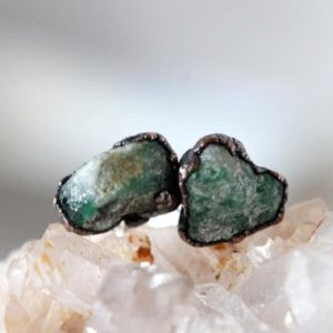 Shop Emerald Earrings! Emerald Earrings – Green Stone Posts – Sterling Silver Studs – Electroformed Crystal Earrings | Natural genuine Emerald earrings. Buy crystal jewelry, handmade handcrafted artisan jewelry for women.  Unique handmade gift ideas. #jewelry #beadedearrings #beadedjewelry #gift #shopping #handmadejewelry #fashion #style #product #earrings #affiliate #ad
