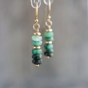 Raw Emerald Earrings, May Birthstone Gift For Her,  14k Gold Filled Or Sterling Silver Drop Earrings | Natural genuine Emerald earrings. Buy crystal jewelry, handmade handcrafted artisan jewelry for women.  Unique handmade gift ideas. #jewelry #beadedearrings #beadedjewelry #gift #shopping #handmadejewelry #fashion #style #product #earrings #affiliate #ad