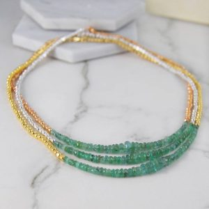 Emerald Necklace, Gemstone Necklace, Green Emerald Necklace, Gold Jewelry, Silver Necklace, Layered Necklace, Birthstone Necklace, Necklaces | Natural genuine Emerald necklaces. Buy crystal jewelry, handmade handcrafted artisan jewelry for women.  Unique handmade gift ideas. #jewelry #beadednecklaces #beadedjewelry #gift #shopping #handmadejewelry #fashion #style #product #necklaces #affiliate #ad