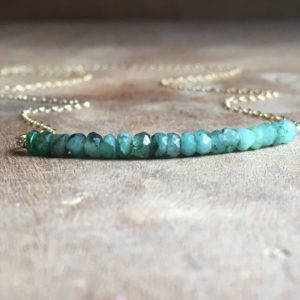 Emerald Necklace – Emerald Jewelry – Genuine Emerald Gemstone – May Birthstone – Gift For Mom | Natural genuine Emerald necklaces. Buy crystal jewelry, handmade handcrafted artisan jewelry for women.  Unique handmade gift ideas. #jewelry #beadednecklaces #beadedjewelry #gift #shopping #handmadejewelry #fashion #style #product #necklaces #affiliate #ad