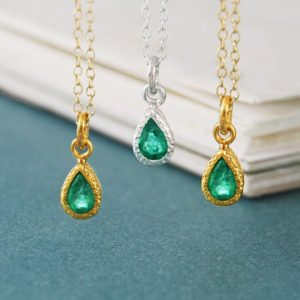 Shop Emerald Pendants! Gold Emerald Necklace, Gemstone Pendant, Birthstone Necklace, Birthstone Gift, May Birthday Gift, Gold Necklace, Gold Pendant, Cute Necklace | Natural genuine Emerald pendants. Buy crystal jewelry, handmade handcrafted artisan jewelry for women.  Unique handmade gift ideas. #jewelry #beadedpendants #beadedjewelry #gift #shopping #handmadejewelry #fashion #style #product #pendants #affiliate #ad