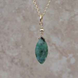 Raw Emerald Necklace, Natural Emerald Jewelry, 14K Gold Filled Stone Pendant, May Birthstone | Natural genuine Emerald pendants. Buy crystal jewelry, handmade handcrafted artisan jewelry for women.  Unique handmade gift ideas. #jewelry #beadedpendants #beadedjewelry #gift #shopping #handmadejewelry #fashion #style #product #pendants #affiliate #ad
