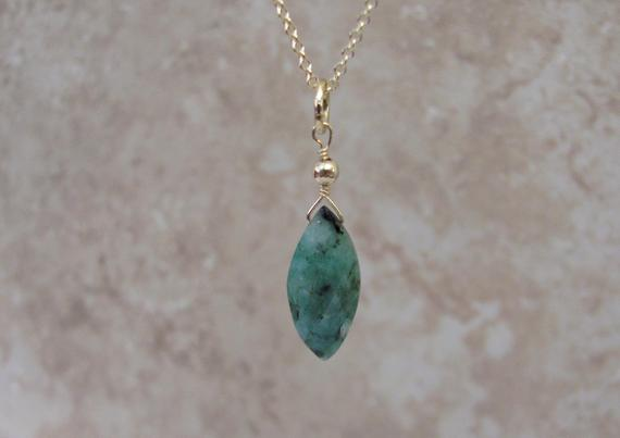Raw Emerald Necklace, Natural Emerald Jewelry, 14k Gold Filled Stone Pendant, May Birthstone