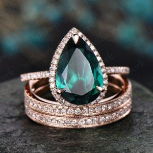 8x12mm emerald engagement ring set solid 14k rose gold emerald ring diamond halo ring 3pcs bridal set unique matching wedding promise ring | Natural genuine Gemstone rings, simple unique alternative gemstone engagement rings. #rings #jewelry #bridal #wedding #jewelryaccessories #engagementrings #weddingideas #affiliate #ad
