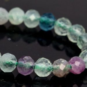 "Shop Fluorite Faceted Beads! 4MM Multicolor Fluorite Beads AAA Genuine Natural Gemstone Half Strand Faceted Round Loose Beads 7.5"" BULK LOT 1,3,5,10,50 (106698h-088) 
