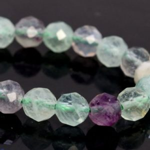 "Shop Fluorite Faceted Beads! 5MM Multicolor Fluorite Beads AAA Genuine Natural Gemstone Half Strand Faceted Round Loose Beads 7.5"" BULK LOT 1,3,5,10,50 (106699h-087) 
