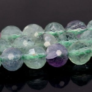 "Shop Fluorite Faceted Beads! 6MM Multicolor Fluorite Beads AAA Genuine Natural Gemstone Full Strand Micro Faceted Round Beads 15.5"" BULK LOT 1,3,5,10,50 (106701-087) 