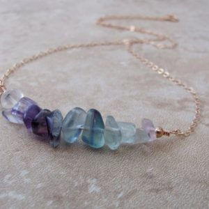 Raw Rainbow Fluorite Necklace, Crystal Jewelry, Gemstone Bar Layering Necklace | Natural genuine Gemstone necklaces. Buy crystal jewelry, handmade handcrafted artisan jewelry for women.  Unique handmade gift ideas. #jewelry #beadednecklaces #beadedjewelry #gift #shopping #handmadejewelry #fashion #style #product #necklaces #affiliate #ad