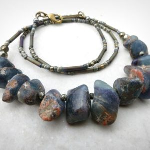 Shop Fluorite Necklaces! Rough Blue Fluorite Necklace, Rustic Stone Pebble Necklace With Raw Fluorite Nuggets, Handmade Metaphysical Bohemian Jewelry | Natural genuine Fluorite necklaces. Buy crystal jewelry, handmade handcrafted artisan jewelry for women.  Unique handmade gift ideas. #jewelry #beadednecklaces #beadedjewelry #gift #shopping #handmadejewelry #fashion #style #product #necklaces #affiliate #ad