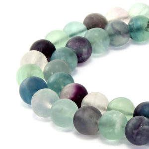 "Natural Fluorite Matte Round Beads 4mm 6mm 8mm 10mm 12mm 15.5"" Strand 